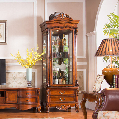 欧式酒柜 客厅单门玻璃陈列柜 高档家具展示柜 实木酒柜 美式酒柜