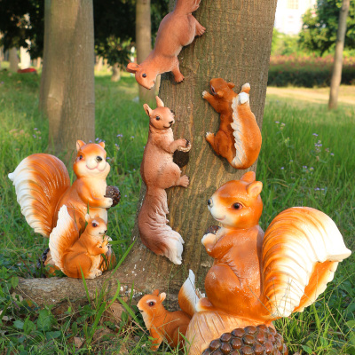 树上仿真松鼠摆件树脂工艺品小动物雕塑小花园装饰品庭院园林摆设