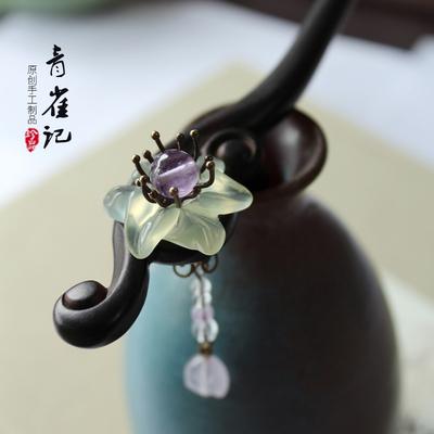 青雀记手工制作黑檀木簪子