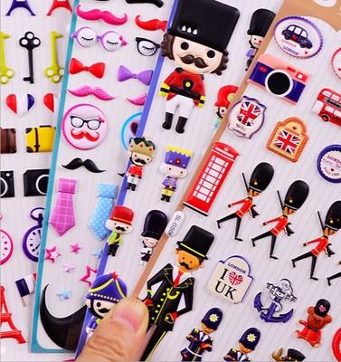 韩国可爱卡通动物泡泡贴纸 手机手帐立体装饰贴diy日记相册泡棉纸