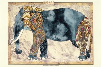 美式进口原版高清画芯装饰画客厅卧室玄关画美式乡村动物大象画芯
