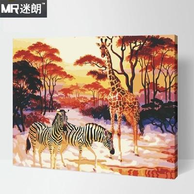 迷朗diy数字油画 风景动物花草客厅大幅数码手绘装饰画 热带雨林