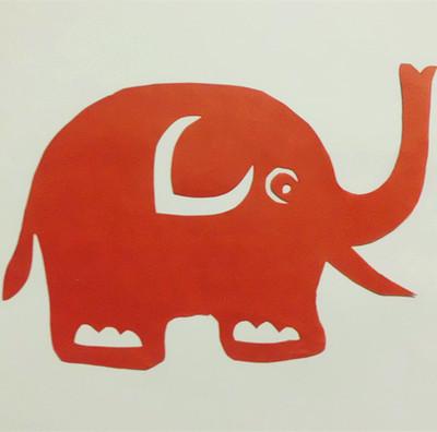 剪纸画作品纯手工 学生简单可爱动物双面红宣纸剪刻 中国民间艺术