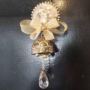 韩国正品 复古精致铜质丝带门铃/风铃 装饰铃铛 壁饰