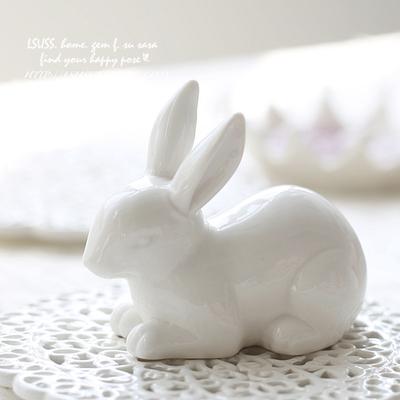 陶瓷 白瓷 摆件 小兔子 小白兔 大白兔 拍照道具 装饰工艺品