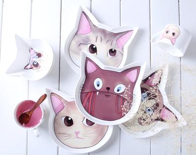 有爱儿童餐具 可爱小猫咪浅式西点创意西餐盘子陶瓷焗饭盘披萨盘