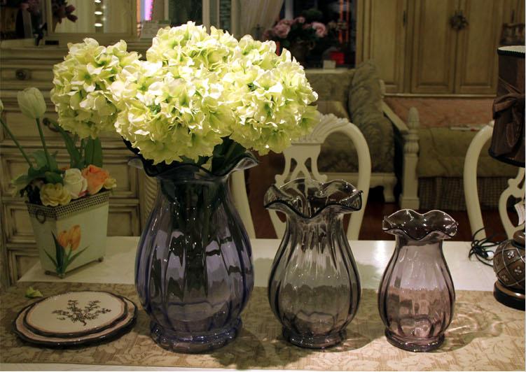 包邮欧式新古典波浪口马蹄莲口玻璃彩色花瓶客厅会所家居插花摆设