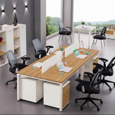 天津宏林办公家具 办公桌 组合钢木结构四人工位 双人办公桌 工位图片