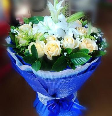 19朵香槟玫瑰百合花束生日表白送女朋友盘锦朝阳阜新营口鲜花速递图片