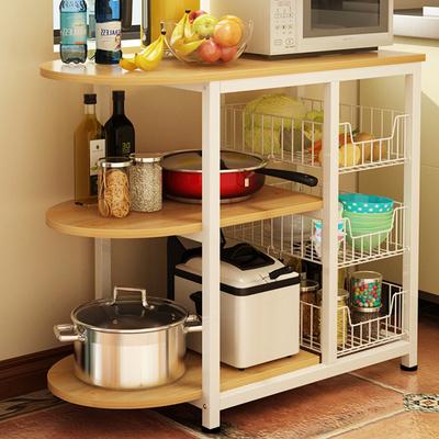 电器收纳�_厨房置物架微波炉架落地家电器收纳储物架3层烤箱架碗柜碗碟架子