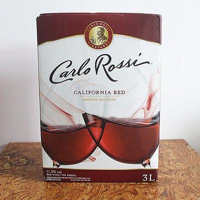 盒装葡萄酒_美国进口干红葡萄酒carlorossi加州乐事红酒3l 双杯盒装现货包邮