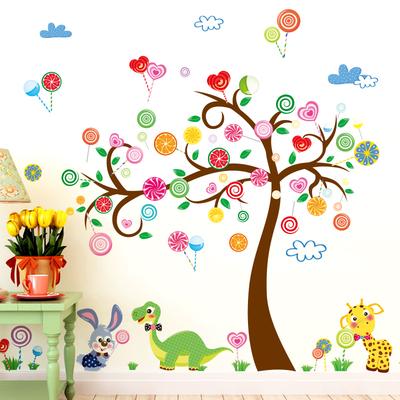 幼儿园墙壁布置彩色卡通小树墙贴纸儿童房宝宝动物环保可移除贴画