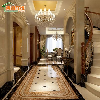 客厅微晶石拼花地砖 餐厅玄关艺术地面拼图 水刀地毯砖地板砖瓷砖