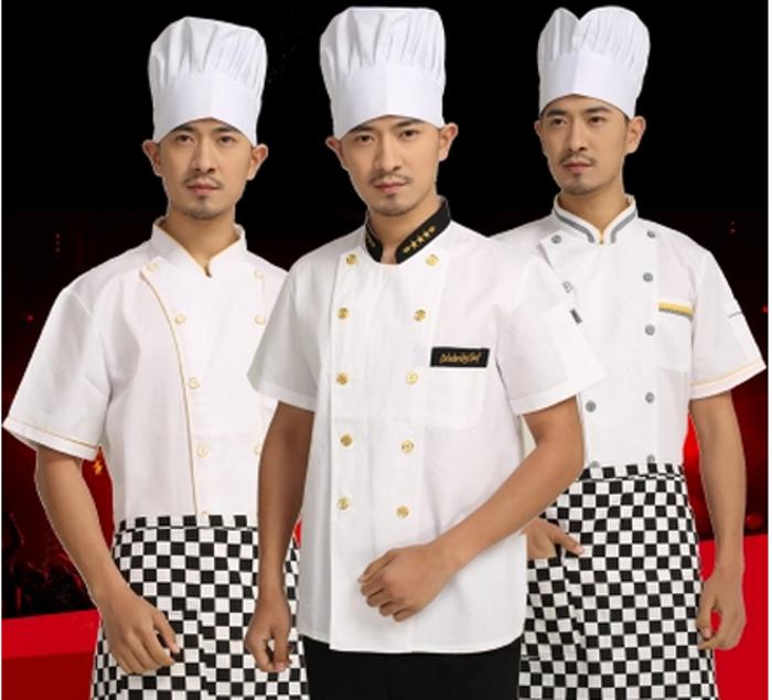 厨师服短袖 男女酒店餐厅蛋糕房西餐厨房工作服 厨师服装半袖夏装