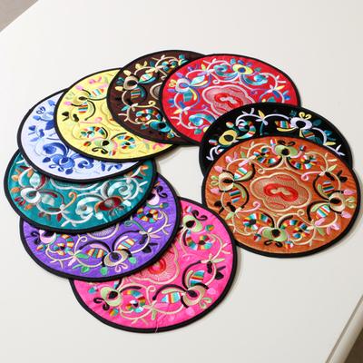 中式圆形刺绣仿古花大杯垫 餐垫 2片/套 隔热垫 防滑垫 桌垫垫套