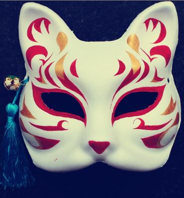 和风手绘 半脸纸浆面具 动漫妖狐coplay 日本狐狸面具 送流苏铃铛