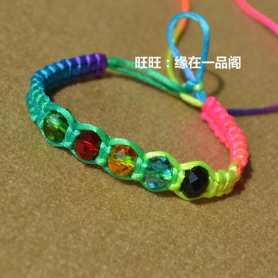彩虹系七彩端午节手链批发 水晶五行转运珠款 五彩绳五色线手腕绳