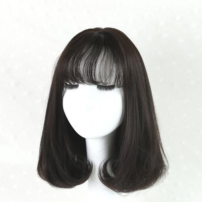 伊奈诗假发女短发中长梨花头短卷发空气刘海自然逼真蓬松时尚发套