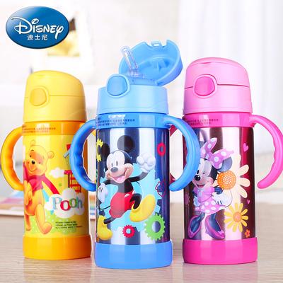 迪士尼儿童保温杯带软吸管不锈钢米奇宝宝水杯子便携带手柄真空壶