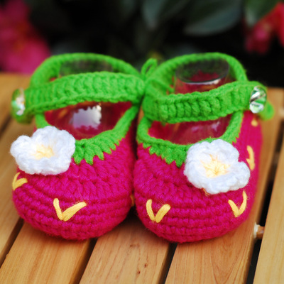 初生婴幼儿手工钩针编织鞋 毛线鞋子 婴儿针织棉鞋 宝宝春秋单鞋