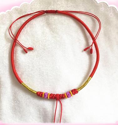 宝宝儿童成人款手工编织红绳项圈手链脚链金锁银锁挂吊坠特价销售