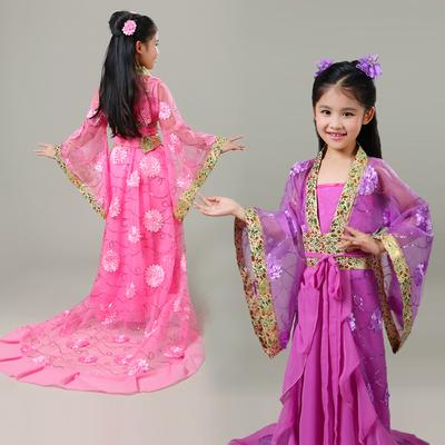 六一儿童贵妃古装 女童古代小贵妃拖尾服装 唐朝公主汉服舞蹈演出