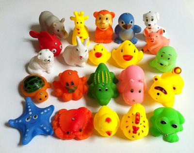 儿童磁性钓鱼玩具 浴室洗澡玩具散装搪胶捏捏响立体动物 散装批发