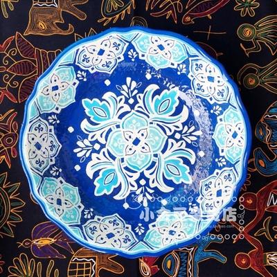 孤品 土耳其异域花纹仿瓷浮雕大盆 手绘插画装饰盆 水果大盆 收纳