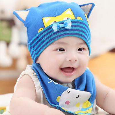 天意熊 婴儿帽子三角巾两件套 夏季纯棉薄款保暖0-12个月宝宝胎帽