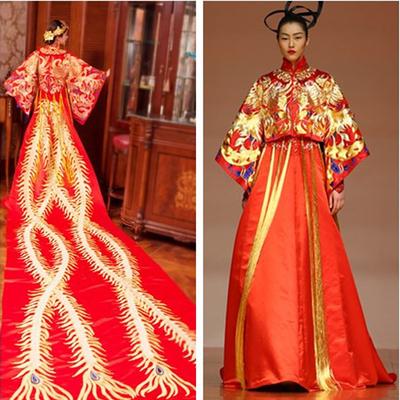佟丽娅秀禾服结婚龙凤褂中式古装拖尾嫁衣敬酒礼服新娘长旗袍绣和图片
