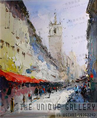 原创手绘油画定制《街角》现代印象派写实风景竖版玄关装饰画油画