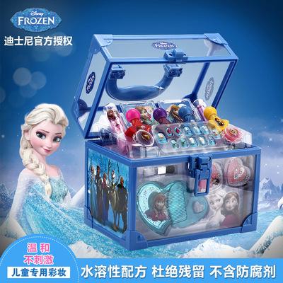 迪士尼艾莎公主冰雪奇缘手提化妆箱儿童化妆品盒彩妆套装女孩玩具