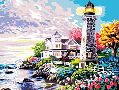 新款数字油画包邮大海风景数码diy油画手绘花卉客厅4050永恒之塔