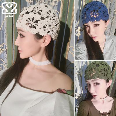 新款手工编织棉线镂空薄帽 夏凉帽透气针织女帽 镂空头巾帽包头帽