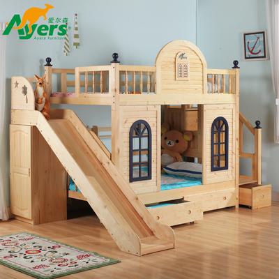 爱尔森实木床环保儿童床上下床高低床子母床 床 城堡床双层床滑梯