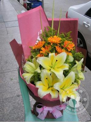 黄百合太阳花花束