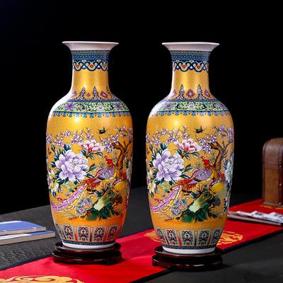 景德镇陶瓷器简欧式落地大花瓶花插现代中式客厅装饰品电视柜摆件