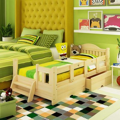 兒童床男孩女孩實木床公主床松木家具小孩床帶護欄小