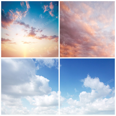 唯美小清新天空/云朵蓝天白云素材/ps影楼婚纱合成高清psd素材