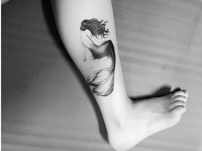 纹身贴防水 女男持久花臂小腿胳膊美人鱼 纹身贴纸刺青色逼真