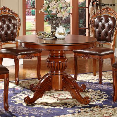 欧式实木餐桌椅组合 餐厅圆餐桌1/1.2/ 1.3米1.5米大圆桌橡木餐台