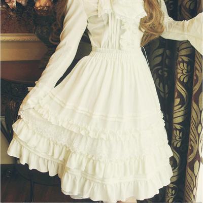 春夏新款洛丽塔lolita复古洋装日系可爱软萌妹雪纺蕾丝sk半身短裙