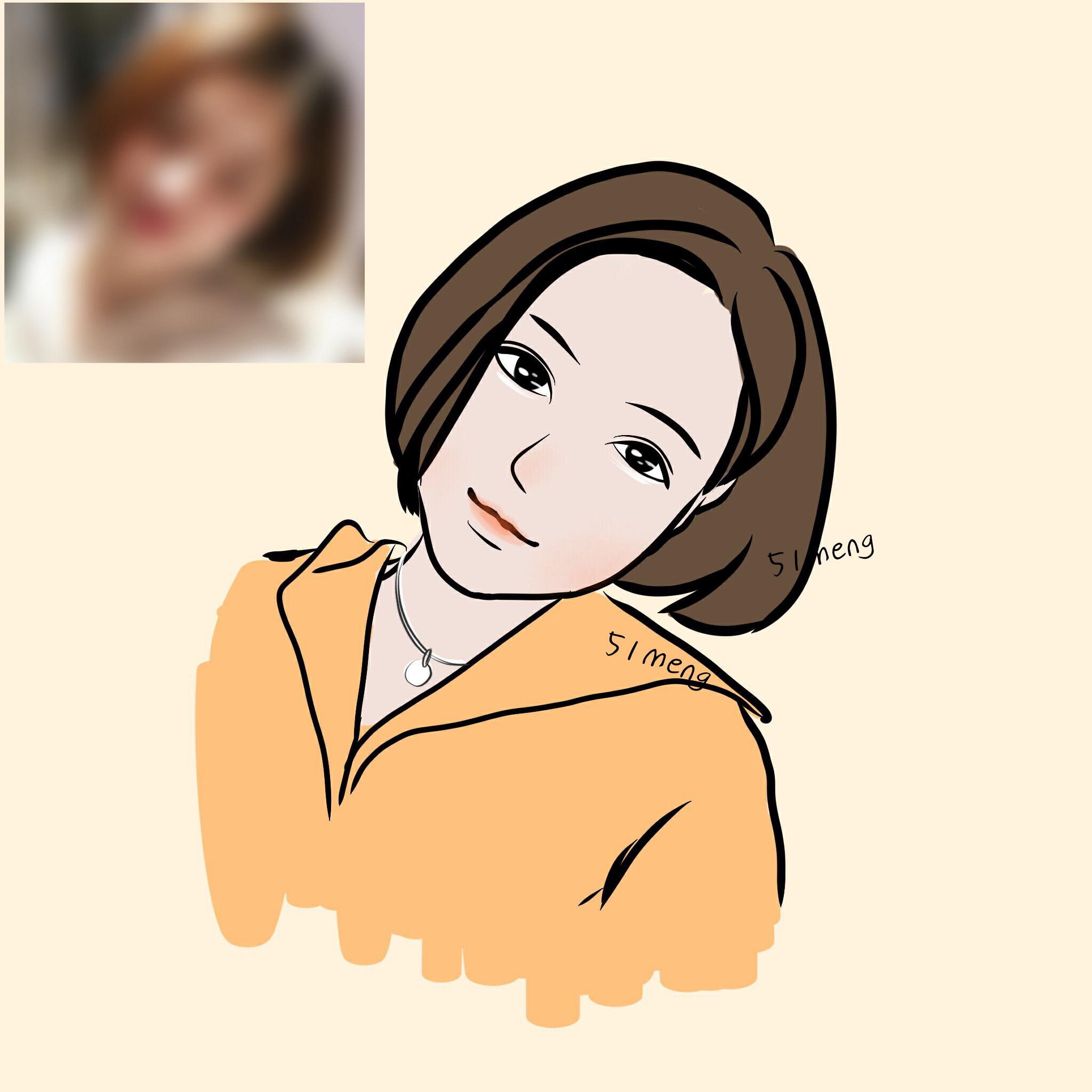 【51】动漫插画手绘头像设计定制真人自拍照片转手绘可爱萌情侣