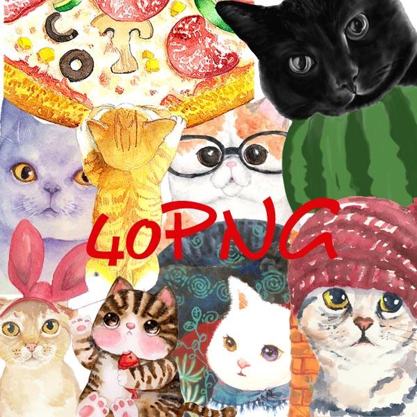 可爱小动物手绘猫咪png透明背景免抠图片网页设计店
