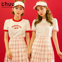 chuu2017夏季新款撞色字母短袖T恤女strawberry milk草莓控T恤