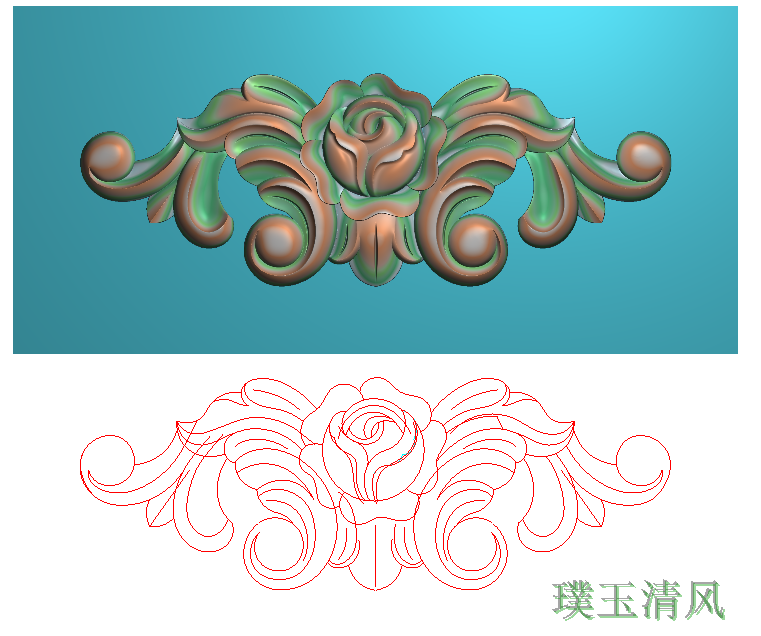 精雕图浮雕图灰度图 玫瑰欧式洋花