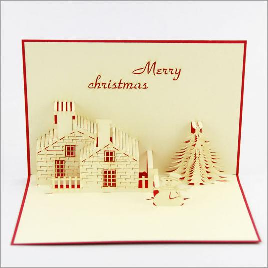 立体贺卡 圣诞雪人房子