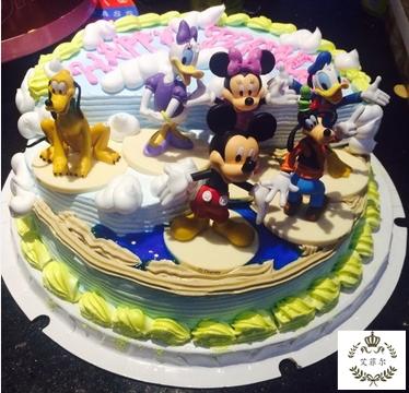创意米琪老鼠场景儿童卡通满月周岁宝宝生日个性蛋糕