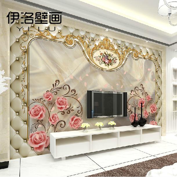 欧式立体浪漫玫瑰壁纸无缝无纺布大型壁画