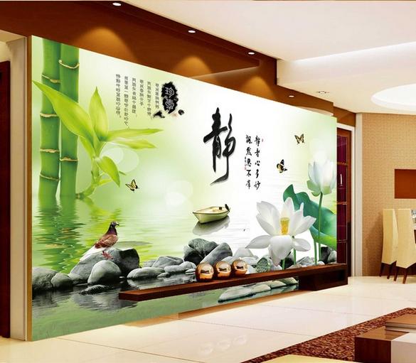欧式电视背景墙纸无缝自粘墙布清新客厅影视墙壁绿色